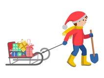 Pysen i vinter beklär att dra en släde, den isolerade illustrationen för tecknad filmstilvektorn vektor illustrationer