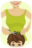 Pysen som får en frisyr på barberaren, shoppar royaltyfri illustrationer