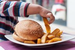 pyshand som äter hamburgare- och fransmansmåfiskar på Arkivfoto