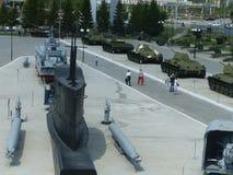 Pyshma supérieur, Russie - 2 juillet 2016 : Divers équipement militaire en plein air dans le musée de l'équipement militaire Vue  Images stock