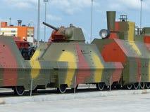 Pyshma supérieur, Russie - 2 juillet 2016 : Train blindé - objet exposé d'a du musée de l'équipement militaire Photo stock