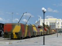 Pyshma superiore, Russia - 2 luglio 2016: Treno corazzato - mostra della a del museo di attrezzatura militare fotografia stock libera da diritti