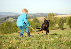 Pyslek med hunden Arkivbild