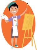 Pysmålning med en staffli stock illustrationer