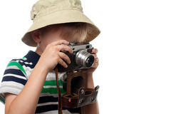 Pysskytte på tappningfotokameran Fotografering för Bildbyråer