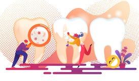 Pysslingar som behandlar enorma mänskliga tänder Denistry royaltyfri illustrationer