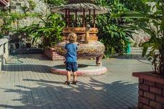 Pysturist i den buddistiska templet Kek Lok Si i Penang, Malaysia, Georgetown Resa med barnbegrepp royaltyfri foto
