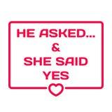 Pytał I Powiedział Tak Ślubny dialog bąbla serce Fotografia Royalty Free