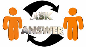 Pyta Odpowiada pytania Dostaje pomocy ludziom strzała ilustracja wektor