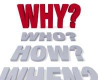 Pytania Prowadzi Dlaczego? Fotografia Stock