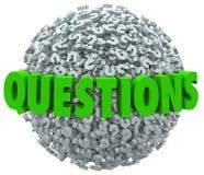 Pytania słowa znaka zapytania piłka Pyta dla odpowiedzi Obraz Royalty Free