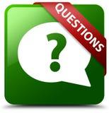 Pytanie bąbla ikony zieleni kwadrata guzik Zdjęcie Royalty Free
