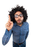 Pytanie mężczyzna z szalonym wyrażeniem i bufiastym włosy Zdjęcia Stock