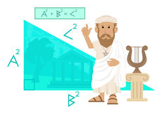 Pythagoras. Cute cartoon of Pythagoras pointing at his formula and a big right angled triangle with Greece landscape in the background Royalty Free Stock Photography