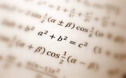Pythagoras equation. Pythagoras theorem equation with many formulas teach Stock Images