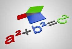Pythagoras`s constant a²+b²=c². Colorful 3D Letters Pythagoras`s constant a²+b²=c Royalty Free Stock Photos