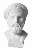 Pythagoras was an important Greek philosopher, mathematician, ge. Ometer and music theorist. White marble bust of him on white background Stock Photo