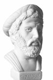 Pythagoras was an important Greek philosopher, mathematician, ge. Ometer and music theorist. White marble bust of him on white background royalty free stock image