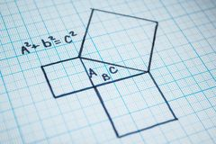 Pythagorean theorem. A mathematical example with a triangle pattern royalty free stock images