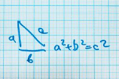 Pythagorean theorem. A mathematical example with a triangle pattern royalty free illustration