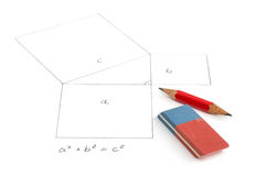 Pythagorean theorem with pincil Royalty Free Stock Photography