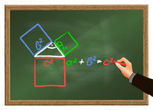 The Pythagorean Theorem. Teacher explains the Pythagorean theorem on a blackboard Stock Images