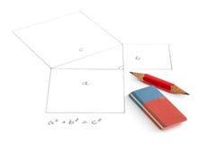 Pythagoreantheorem med pincil Royaltyfri Fotografi