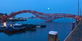 Python Bridge in Amsterdam - night scene Royalty Free Stock Photos