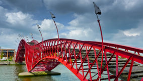 Python Bridge. The Python Bridge, a pedestrian bridge in Amsterdam's Eastern Docklands, Netherlands Stock Images