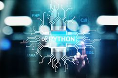 Python high-level programing language. Application and web development concept on virtual screen. Python high-level programing language. Application and web royalty free stock photography