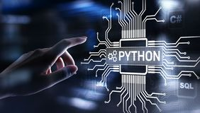 Python high-level programing language. Application and web development concept on virtual screen. Python high-level programing language. Application and web stock image