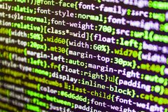 Python programming developer code. Closeup of Java Script, CSS and HTML code. Monitor closeup of function source code stock image