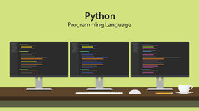 Python programming language illustration with program code on three row monitor programmer workspace Stock Photo