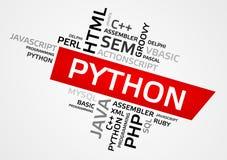 PYTHON word cloud, tag cloud, vector graphics Stock Photo