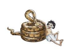 Pythonschlange und Mowgli Stockfotos