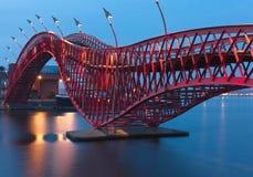 Pythonschlangen-Brücke in Amsterdam - Nachtszene Lizenzfreie Stockfotos