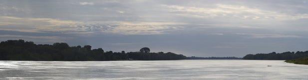 Pływający statkiem na rzece amazonkę w lesie tropikalnym, Brazylia Obrazy Royalty Free