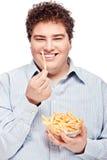 Pyzaty mężczyzna i jedzenie obraz royalty free