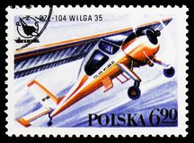 PZL-104 Wilga 35, Polish Sport Planes serie, circa 1978. MOSCOW, RUSSIA - OCTOBER 6, 2018: A stamp printed in Poland shows PZL-104 Wilga 35, Polish Sport Planes stock photos