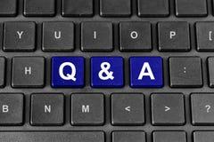 Q&A ή λέξη ερωταποκρίσεων στο πληκτρολόγιο Στοκ Φωτογραφία
