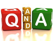 Q&a. Written with blocks in red yellow and green colors over white space and reflective floor vector illustration