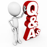 Q&A. Question and answers or Q&A, words in 3d with 3d man figure standing against it on white background Stock Photo