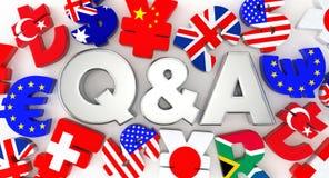 Серебр Q&A и символ валюты Стоковые Изображения