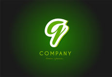 Q alphabet letter logo green 3d company vector icon design Stock Photos