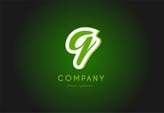 Q alphabet letter logo green 3d company vector icon design. Q alphabet letter hand written hand writing green white logo 3d vector creative company icon design stock illustration