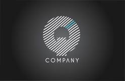 Q alphabet line stripe white blue letter logo icon design Stock Images