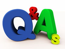 Q&As or question and answers. 3d text of question and answers or Q&A on white background, clarity and interaction concept Royalty Free Stock Photography