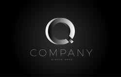 Q black white silver letter logo design icon alphabet 3d Stock Photos