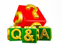 Q&A Blocks on white Royalty Free Stock Photography