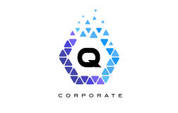 Q Blue Hexagon Letter Logo with Triangles. Q Blue Hexagon Letter Logo Design with Blue Mosaic Triangles Pattern stock illustration